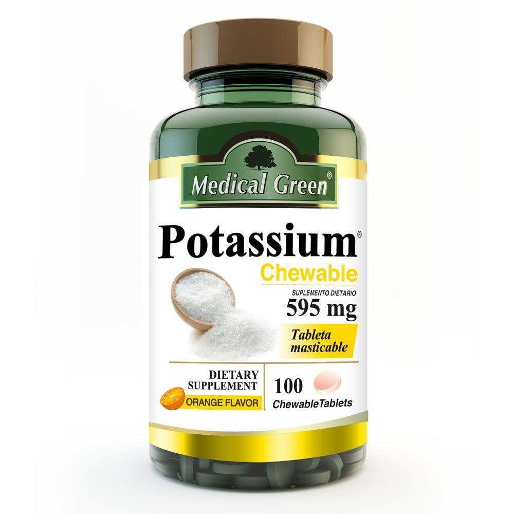potassium chewable 100 tabletas masticables sistema osteo muscular medical green dismundonatural