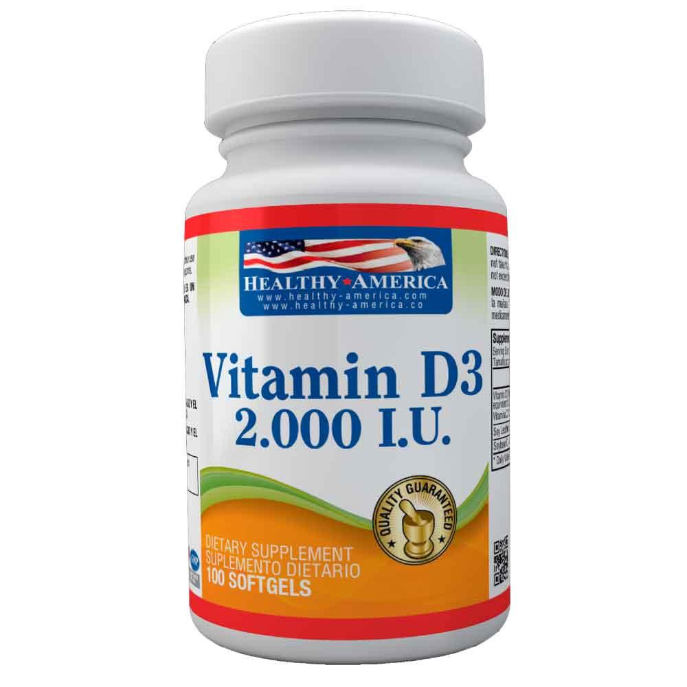 vitamin d3 2.000 I.U. 100 softgels healthy america dismundonatural