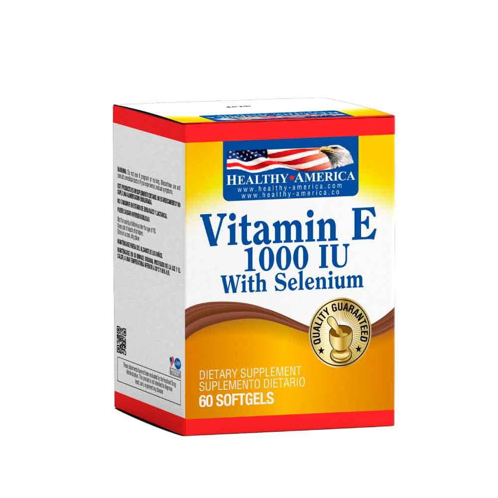vitamin e 1000 iu con selenium 60 softgels caja healthy america dismundonatural